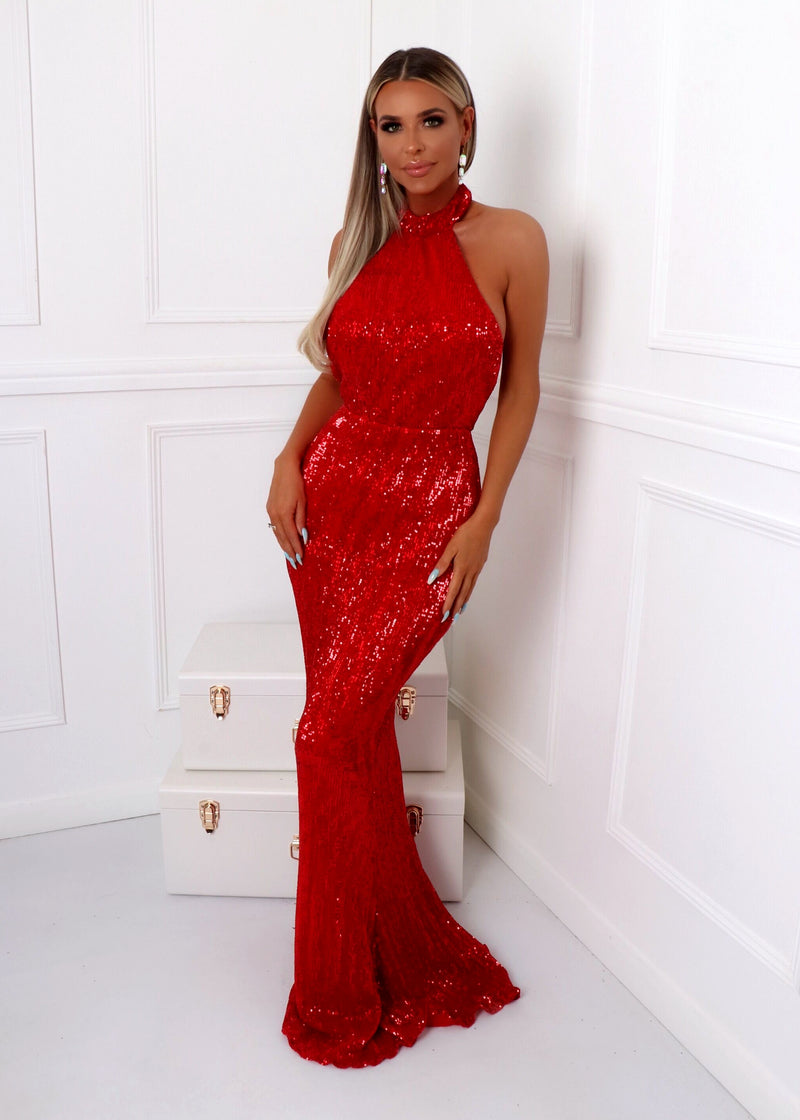 'Sequin Queen' Gown - Red