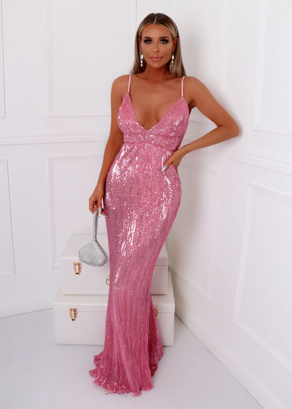 'Frozen Heart' Sequin Gown - Pink