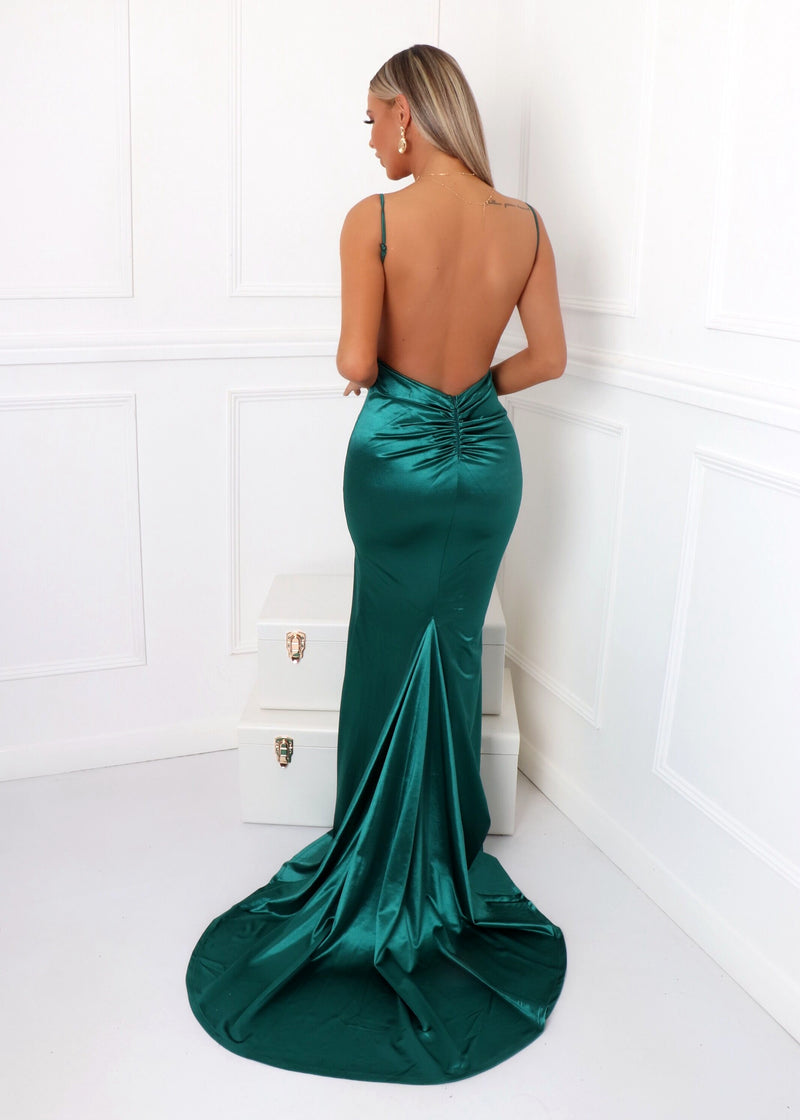 'Touch of Glamour' Satin Gown with Side Slit - Emerald Green