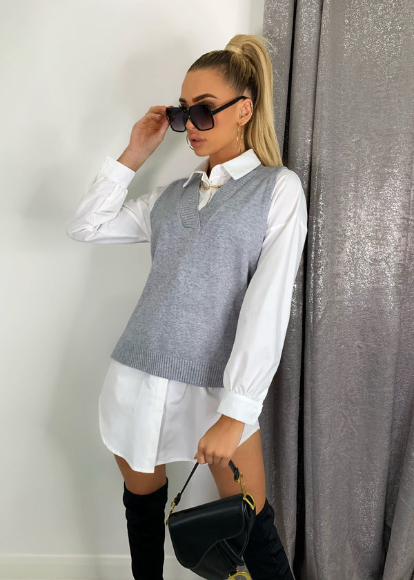 Basic Needs Knitted Oversized Vest Top - Grey
