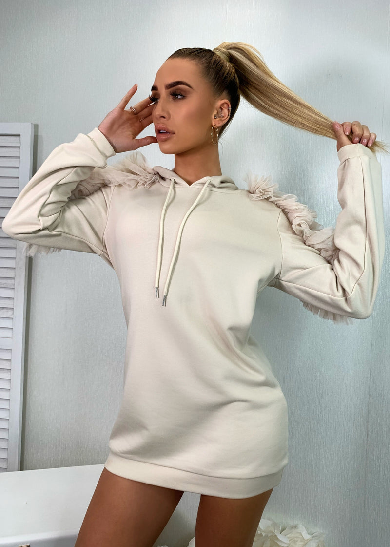 Sunday Forever Hooded Sweatshirt Dress - Beige