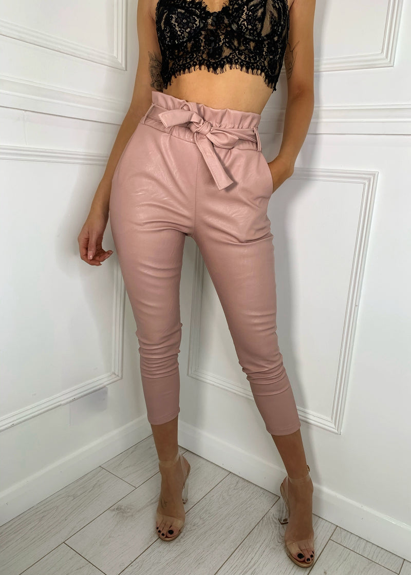 Tie Your Side Paperbag PU Trousers - Blush