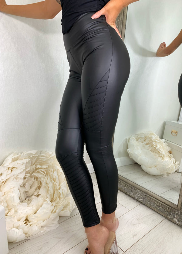 Panel All Along High Waist PU Leggings - Black