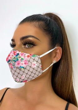Slim Fit Floral Print Cotton Face Mask