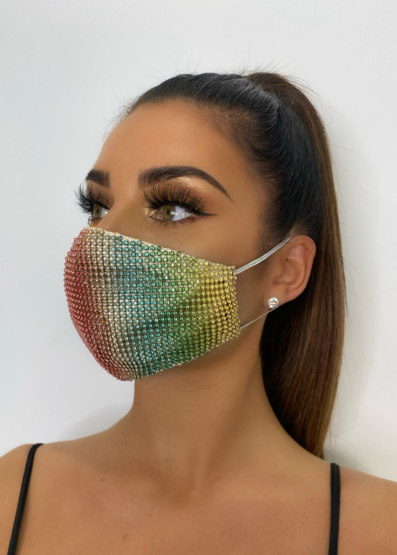 Bling On The Night Diamante Mask - Multi