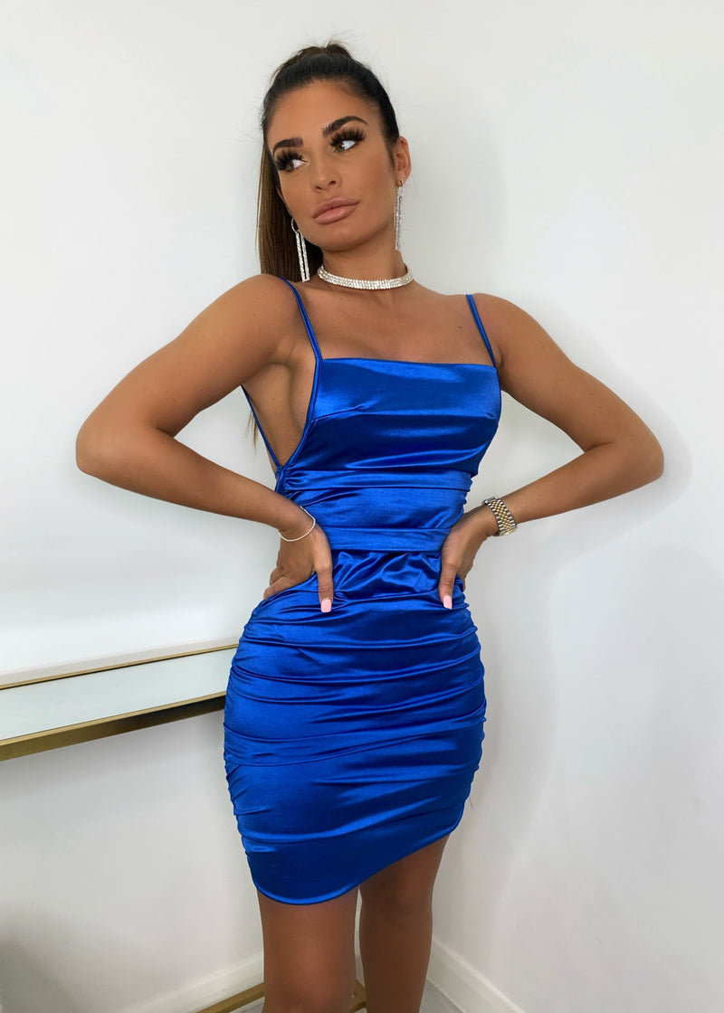 Sleek Over Ruched Satin Dress - Cobalt Blue