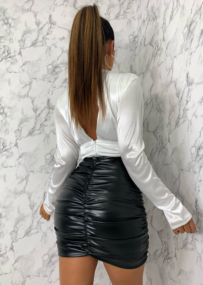 Here For The Ruche High Waisted PU Skirt - Black