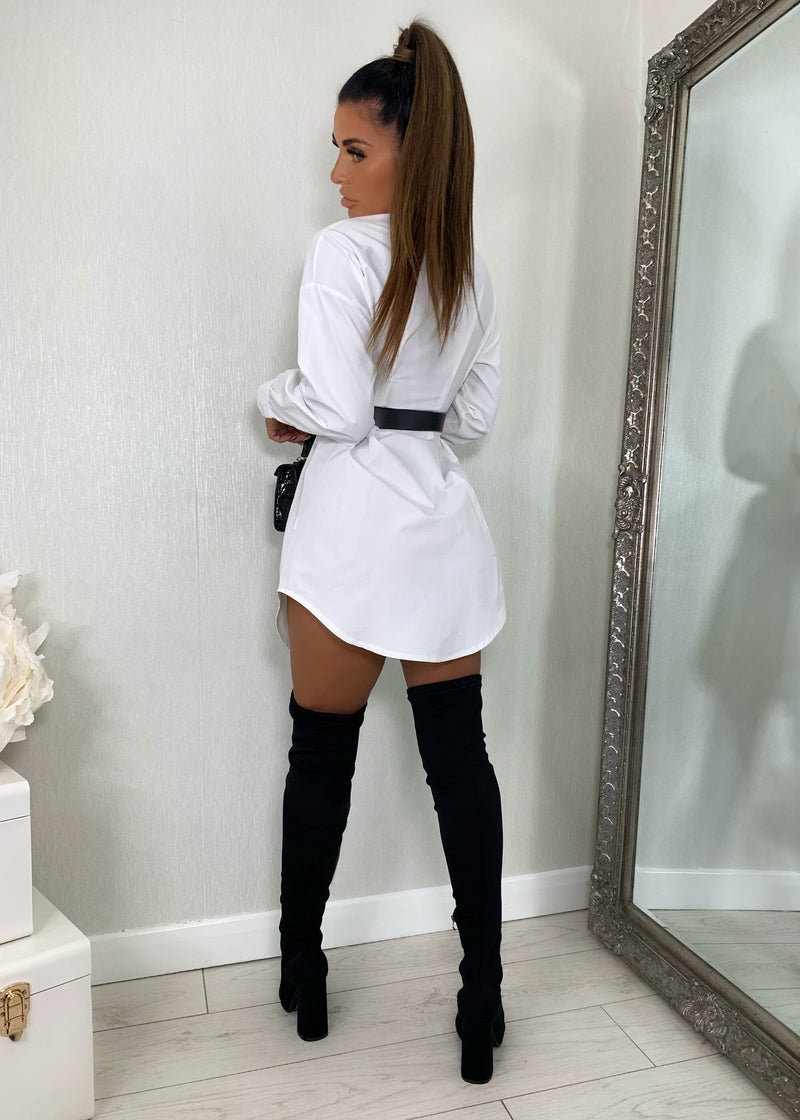 Be There In A Mini Shirt Dress - White