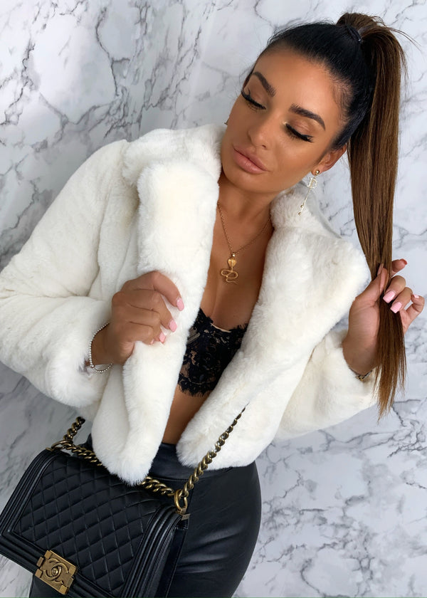 Short And Cozy Cropped Premium Faux Fur Jacket - Cream
