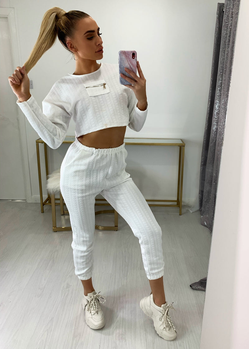 Work Together Textured Tracksuit - White