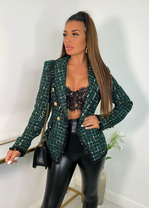 This Means Business Premium Tweed Double Breasted Blazer - Green
