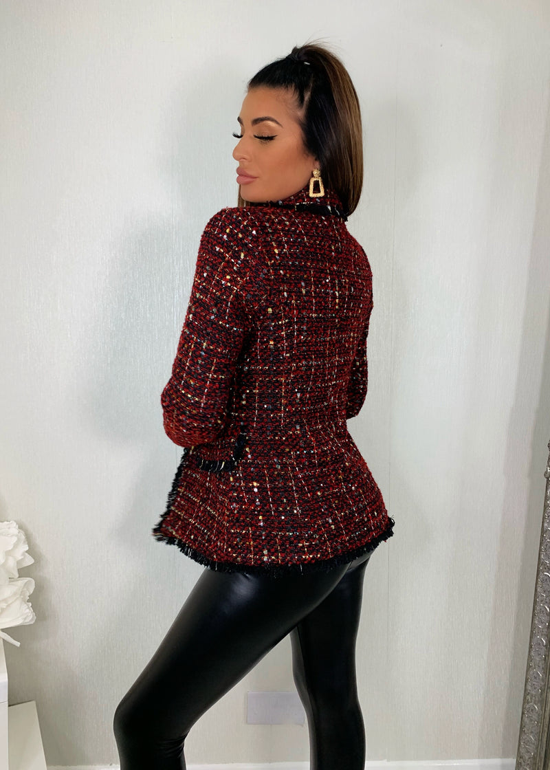 This Means Business Premium Tweed Double Breasted Blazer - Red