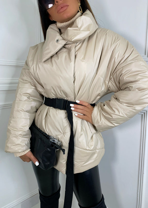Feeling Powerful Puffer Jacket - Beige