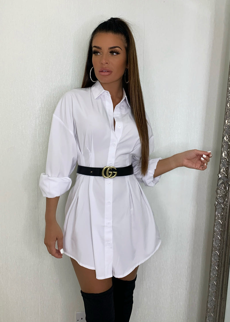 Button Down Mini Shirt Dress - White