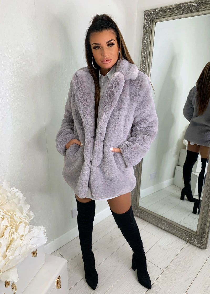 Softie Teddy Faux Fur Coat - Grey