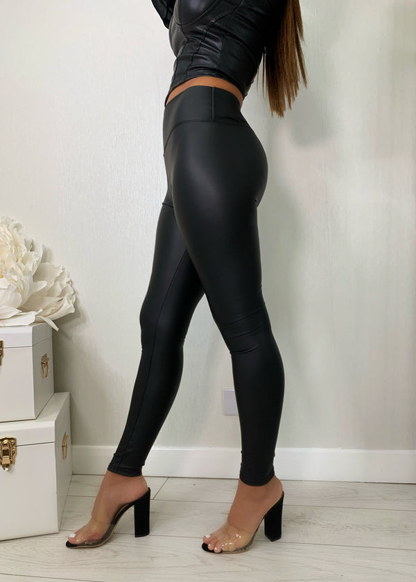 Take It Easy High Waisted PU Leggings - Matt Black