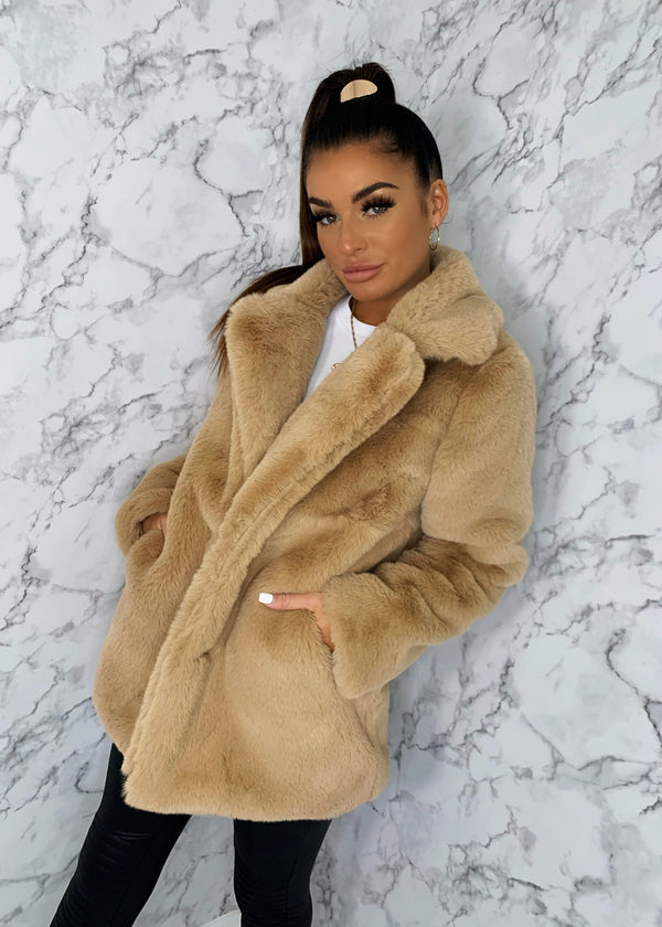 Softie Teddy Faux Fur Coat - Camel