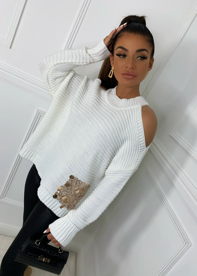 Sleeve Found Love Cold Shoulder Jumper