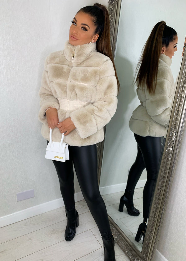 Just Fur You Fitted Faux Fur Jacket - Beige