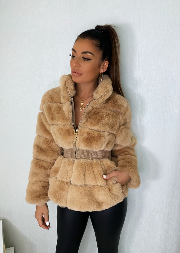 Just Fur You Fitted Faux Fur Jacket - Camel