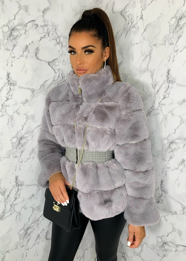 Just Fur You Fitted Faux Fur Jacket - Grey