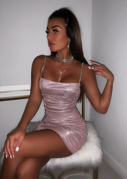 Material Girl Ruched Glitter Dress 2.0 - Rose Gold