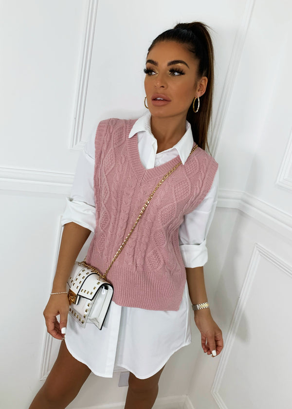 In Our Comfort Zone Knitted Oversized Vest Top - Pink