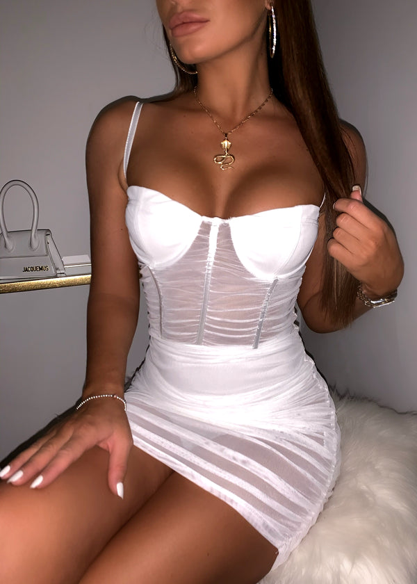 No Secrets Sheer Bodycon Dress - White