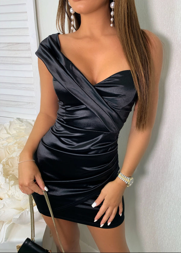 Ultimate Sass One Shoulder Satin Dress - Black
