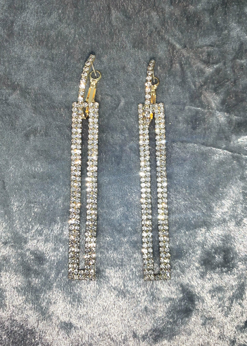 So Fancy Diamante Earrings - Gold