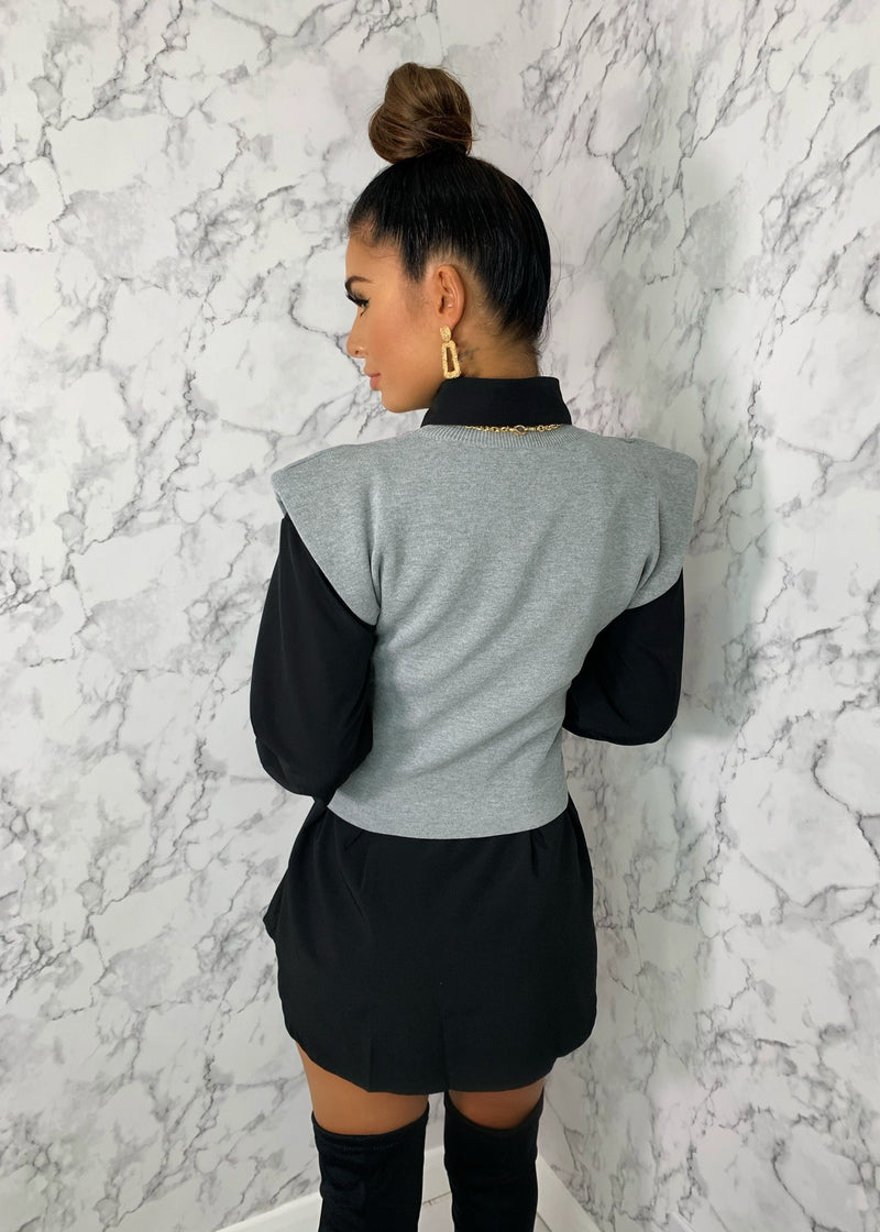 Pad Influence Knitted Top - Grey