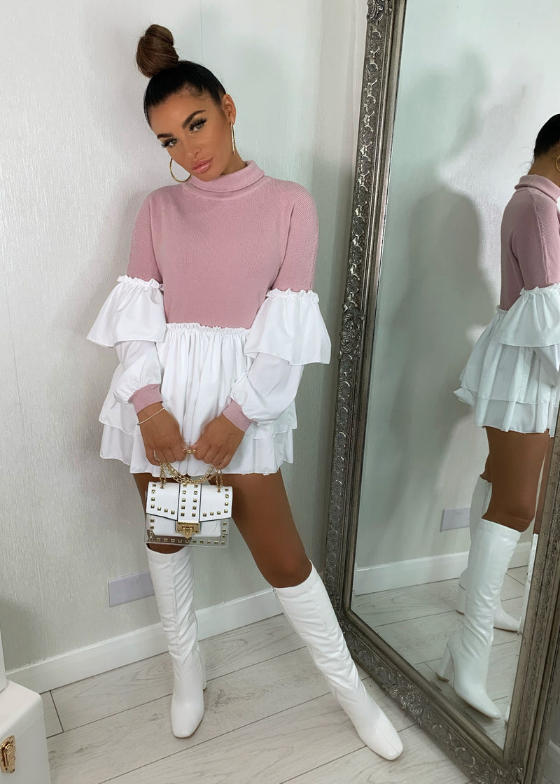 All In One Peplum Shirt Jumper - Pink