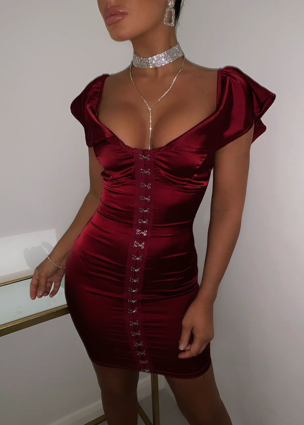 My Spotlight Satin Dress - Wine