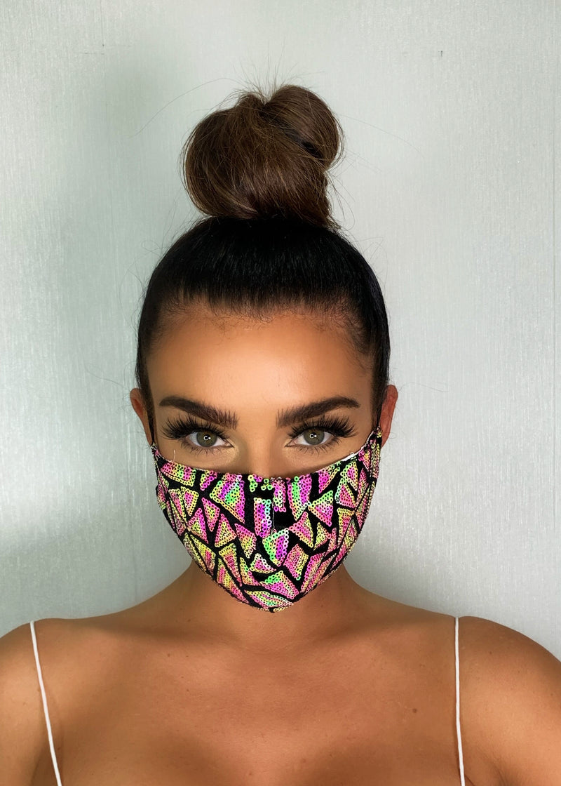 Geometric Sequin Face Mask - Multi