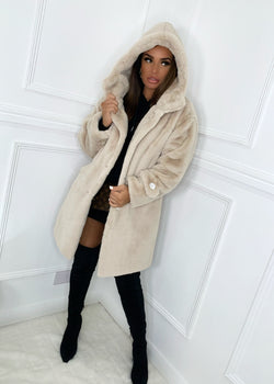 All Good In The Hood Faux Fur Coat - Beige