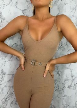 Lila Ribbed Jumpsuit - Brown