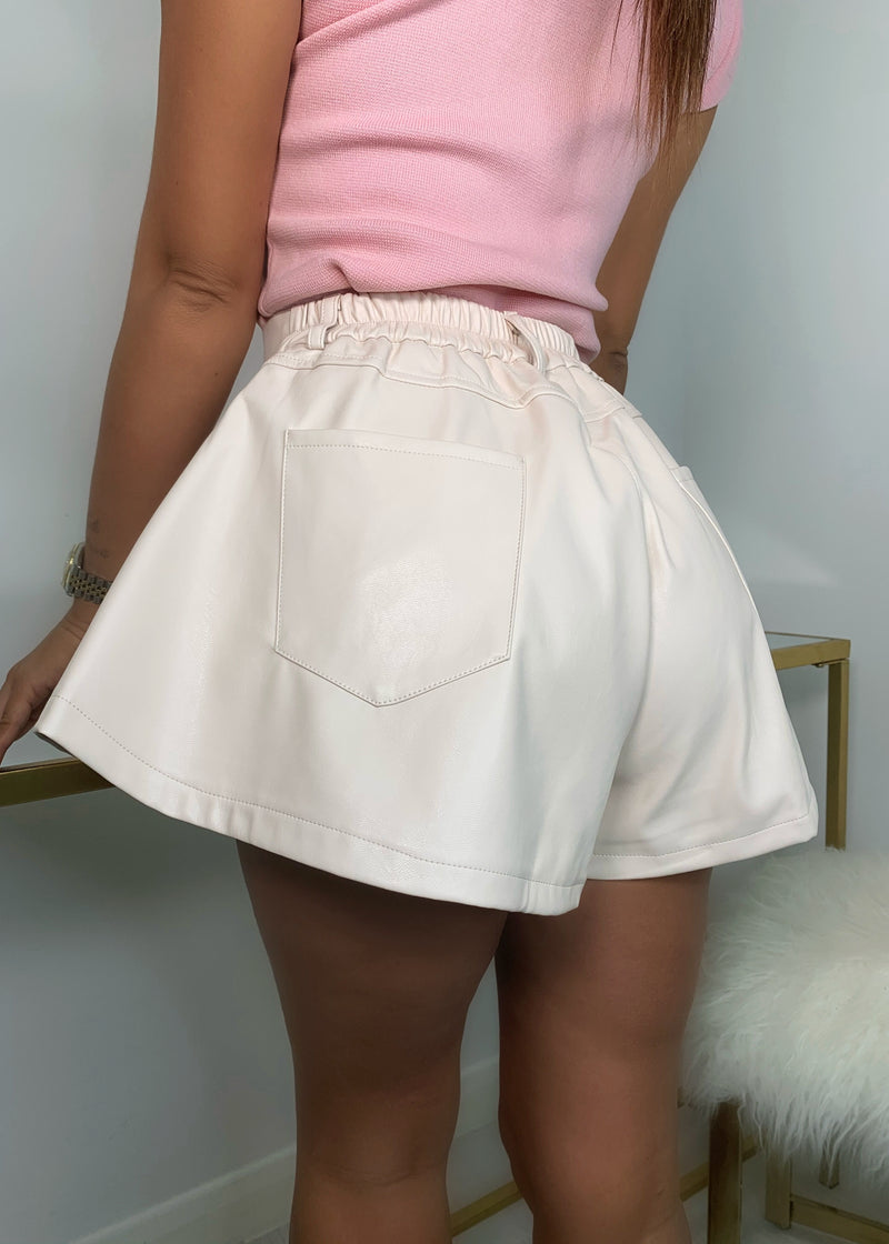 Flare Play PU Flared Shorts - Buttermilk