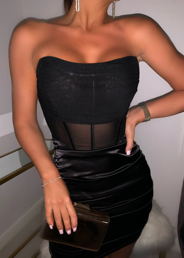 Sheer She Comes Bodycon Dress - Black