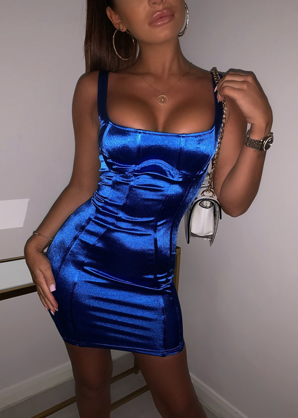 Square Up Satin Dress - Cobalt Blue