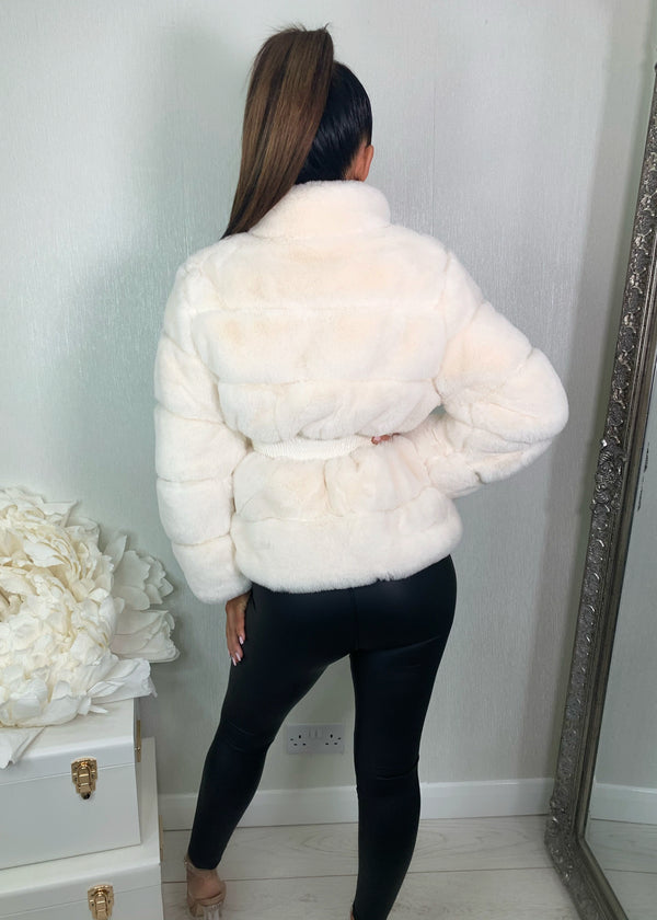 Just Fur You Fitted Faux Fur Jacket - Cream