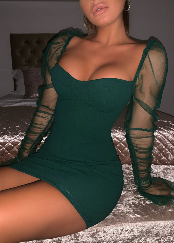 Sheer Attack Puff Sleeve Bodycon Dress - Green