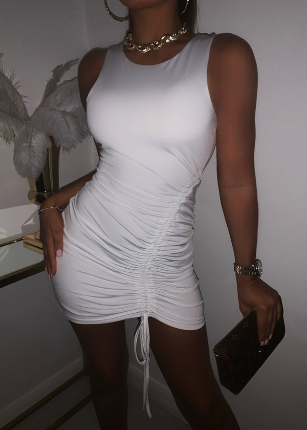Power Of Ruche Mini Dress - White