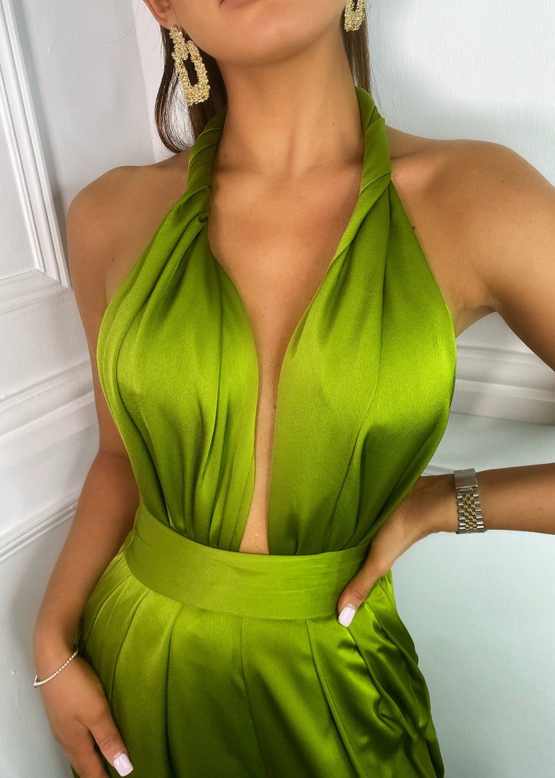 'Turn Up The Heat' Satin Two Piece - Olive