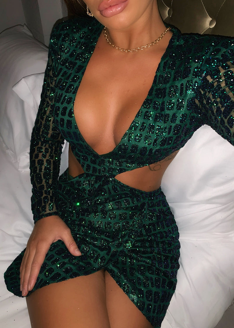 Ex Lovers Glitter Dress - Emerald Green