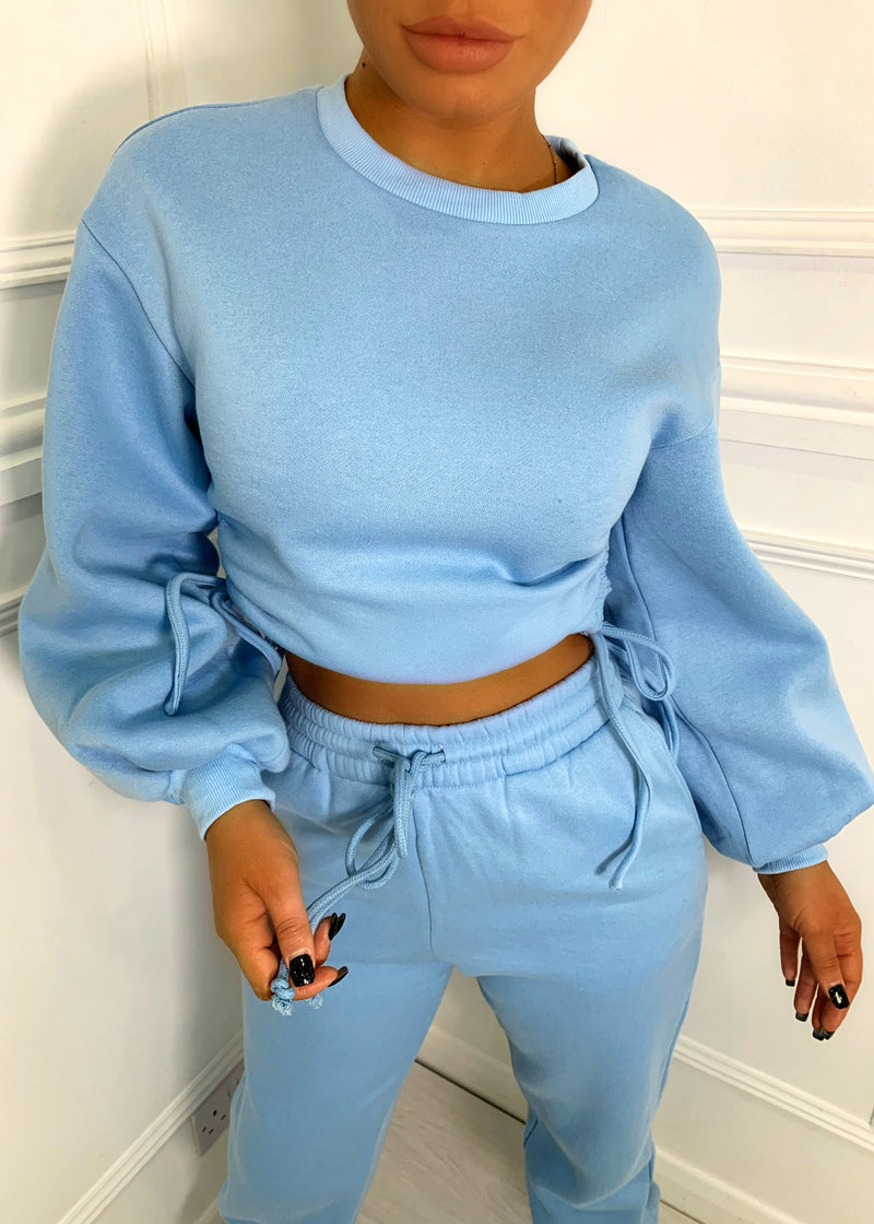 Strings Attached Oversized Lounge Set - Blue