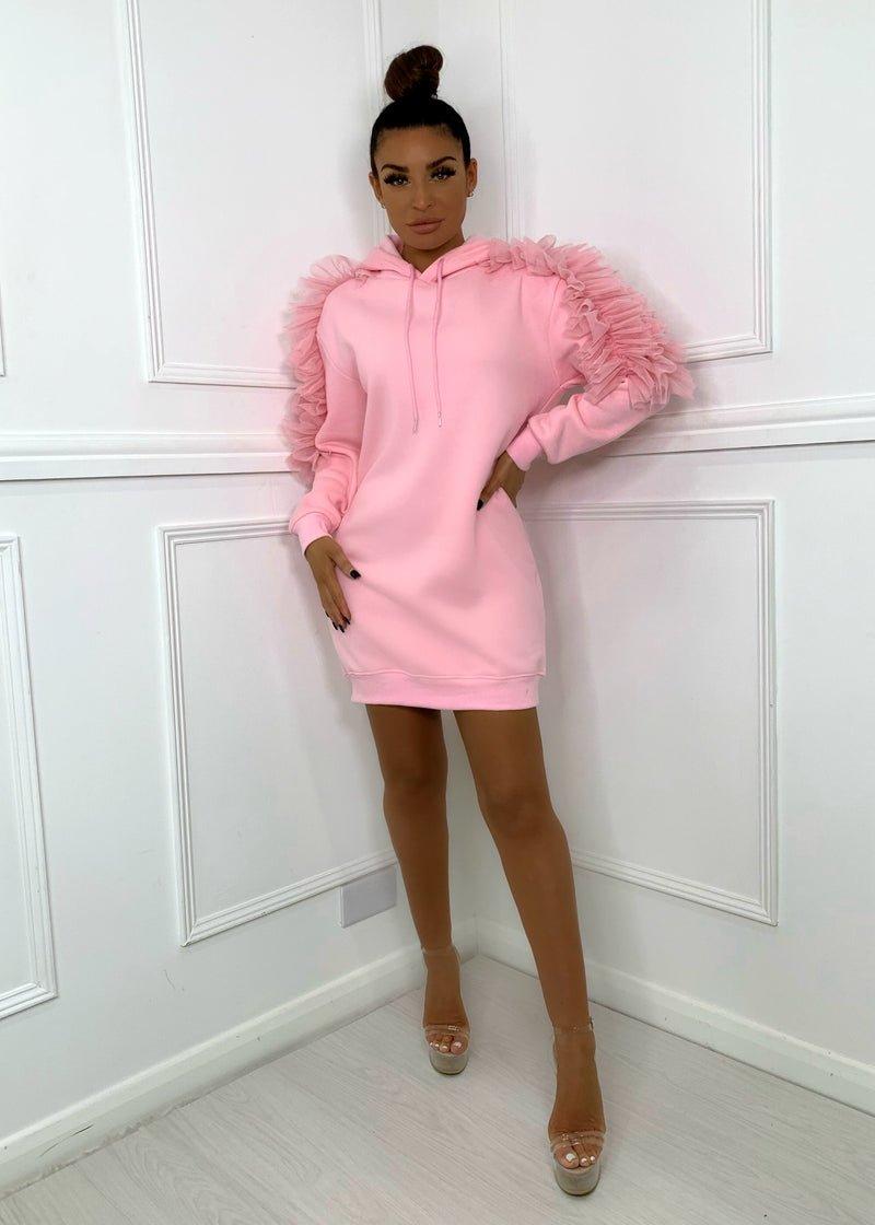 Sunday Forever Hooded Sweatshirt Dress - Pink