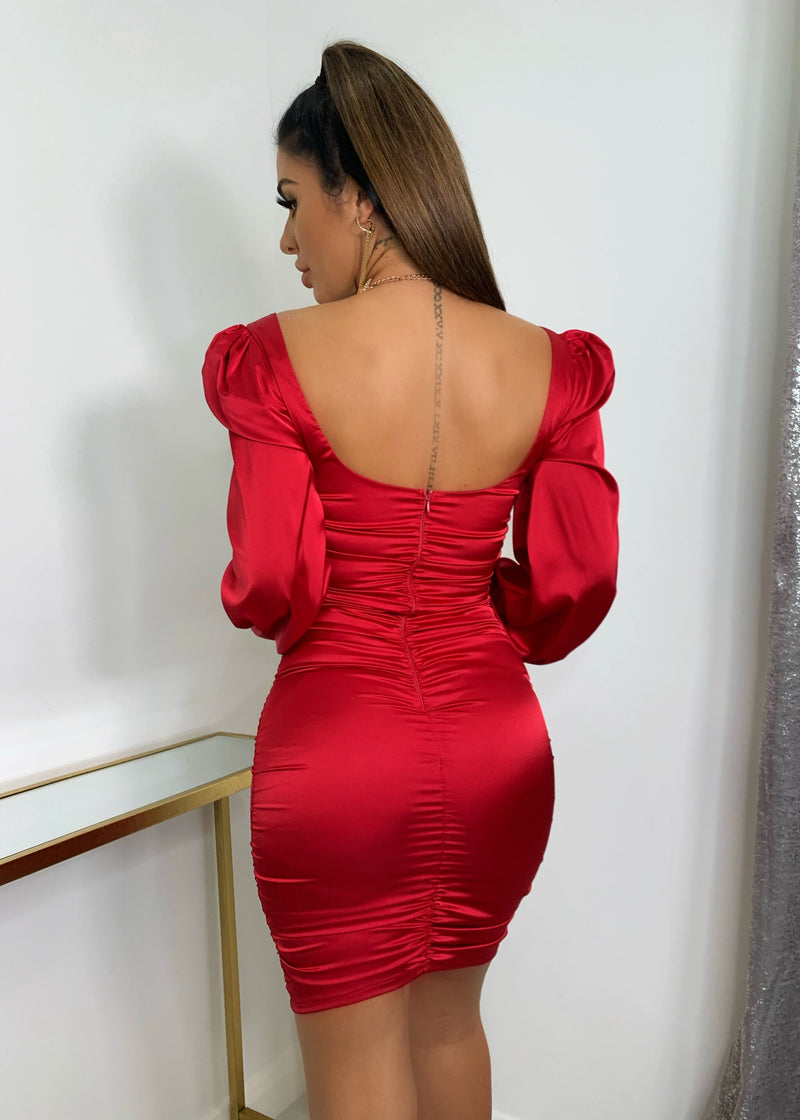 Square My Love Puff Sleeve Satin Dress - Red