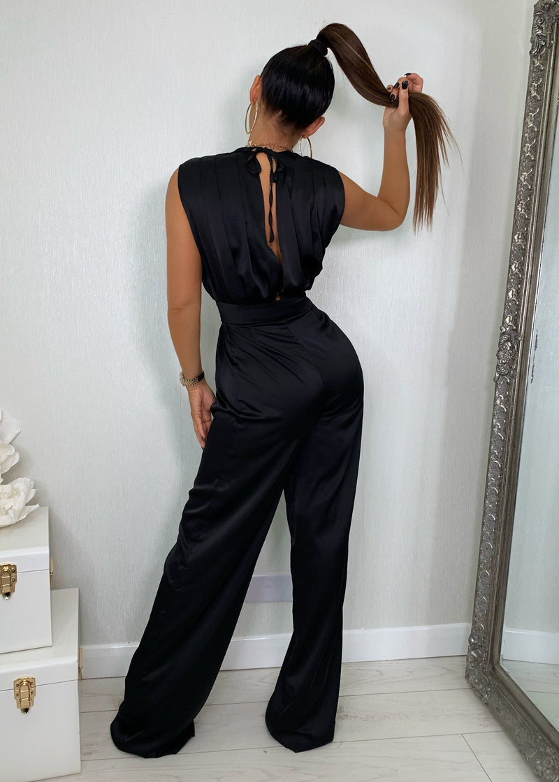 Taking Plunge Satin Jumpsuit - Black