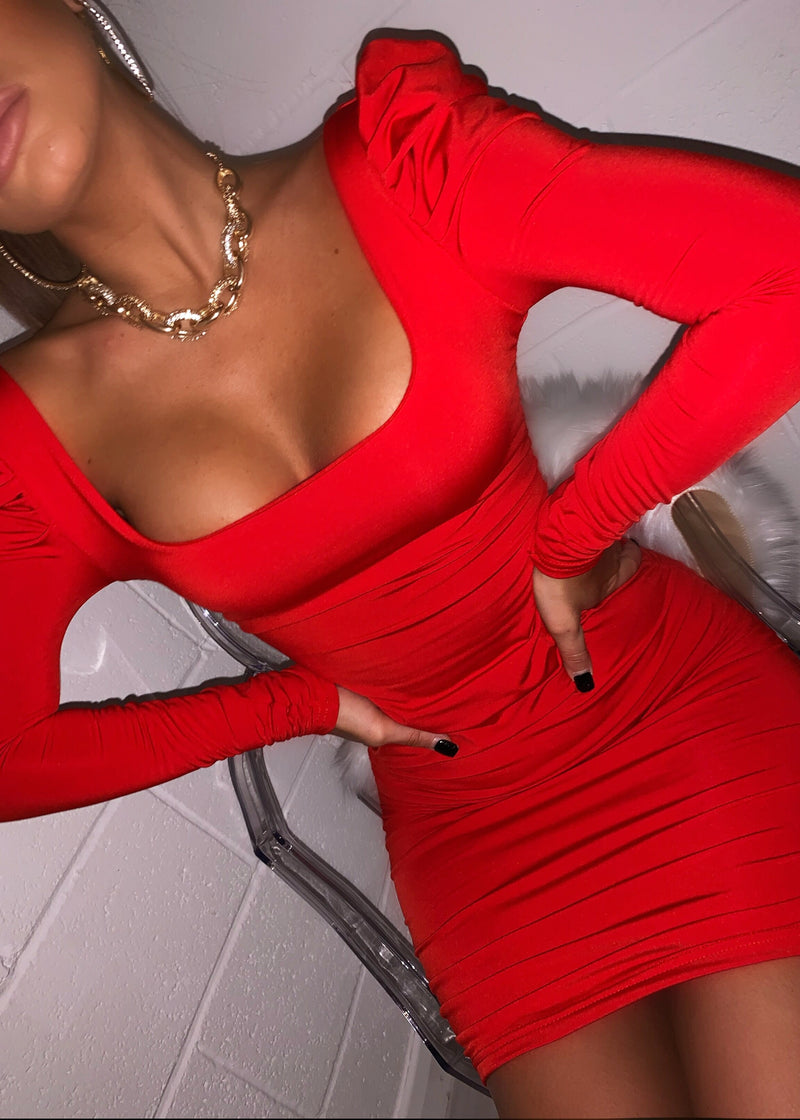 Old School Romance Puff Shoulder Dress - Red