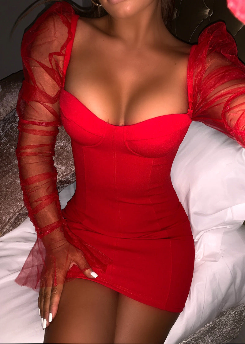 Sheer Attack Puff Sleeve Bodycon Dress - Red